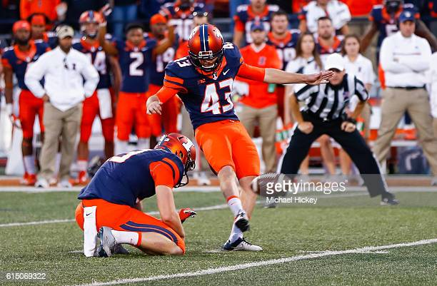 Chase McLaughlin of the Illinois Fighting Illini kicks the ball during the game against the Purdue Boilermakers at Memorial Stadium on October 8 2016...