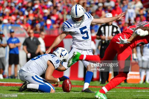 Chase McLaughlin of the Indianapolis Colts kicks a 50yard field goal in the first quarter of a football game against the Tampa Bay Buccaneers at...
