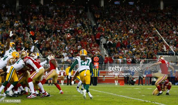 Chase McLaughlin of the San Francisco 49ers kicks a 27yard field goal during the game against the Green Bay Packers at Levi's Stadium on November 24...