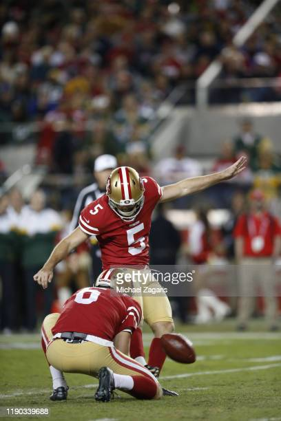 Chase McLaughlin of the San Francisco 49ers kicks a 29yard field goal during the game against the Green Bay Packers at Levi's Stadium on November 24...