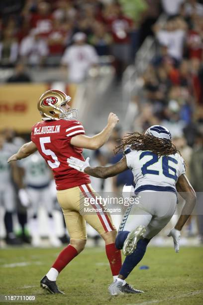 Chase McLaughlin of the San Francisco 49ers kicks a 39yard field goal to send the game into overtime during the game against the Seattle Seahawks at...