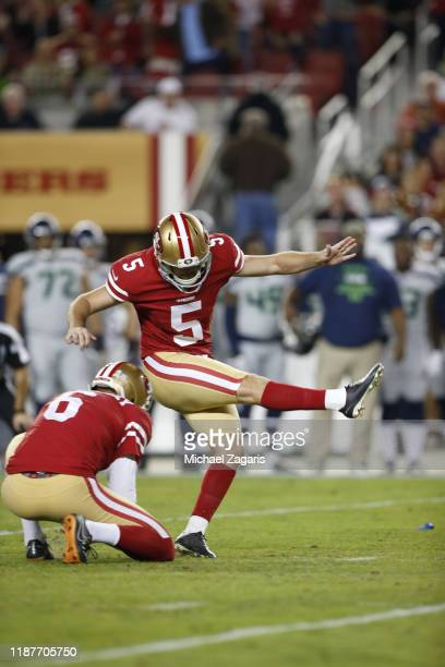 Chase McLaughlin of the San Francisco 49ers kicks a 43yard field goal during the game against the Seattle Seahawks at Levi's Stadium on November 11...