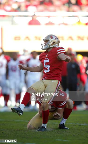 Chase McLaughlin of the San Francisco 49ers kicks a 43yard field goal during the game against the Arizona Cardinals at Levi's Stadium on November 17...