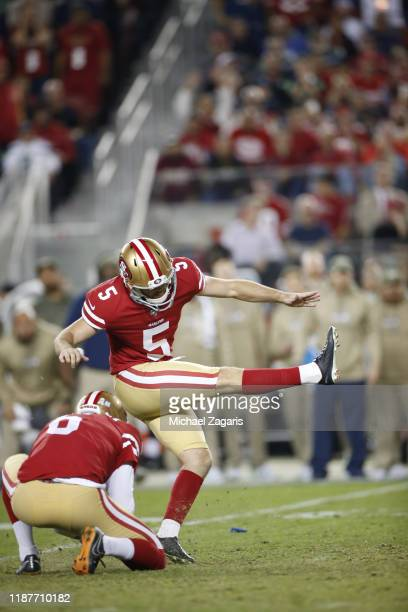 Chase McLaughlin of the San Francisco 49ers kicks a field goal during the game against the Seattle Seahawks at Levi's Stadium on November 11 2019 in...