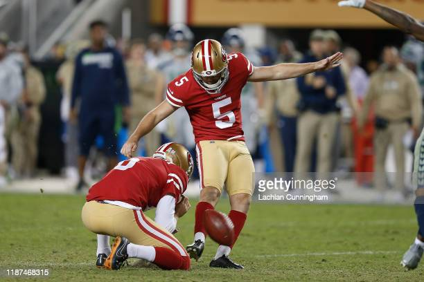 Chase McLaughlin of the San Francisco 49ers kicks a field goal in the fourth quarter against the Seattle Seahawks at Levi's Stadium on November 11...