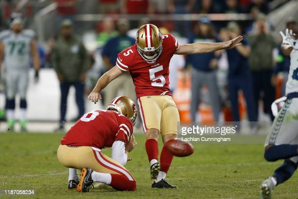 Chase McLaughlin of the San Francisco 49ers kicks a field goal to tie the game against the Seattle Seahawks late in the fourth quarter at Levi's...