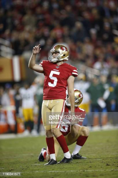 Chase McLaughlin of the San Francisco 49ers kicks a PAT during the game against the Green Bay Packers at Levi's Stadium on November 24 2019 in Santa...