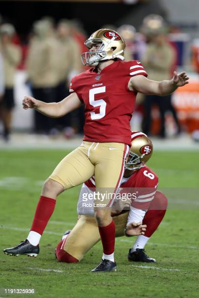 Chase McLaughlin of the San Francisco 49ers kicks during the game against the Seattle Seahawks at Levi's Stadium on November 11 2019 in Santa Clara...