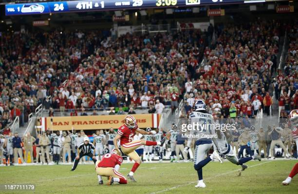 Chase McLaughlin of the San Francisco 49ers misses a 47yard field goal in overtime of the game against the Seattle Seahawks at Levi's Stadium on...