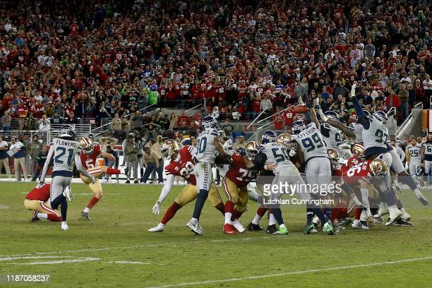 Chase McLaughlin of the San Francisco 49ers misses a field goal attempt in overtime against the Seattle Seahawks at Levi's Stadium on November 11...