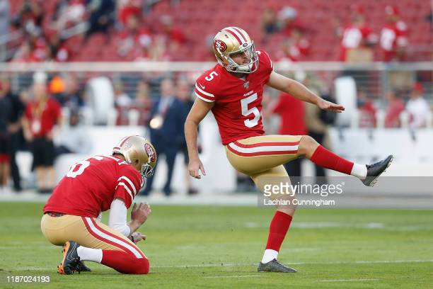Chase McLaughlin of the San Francisco 49ers warms up before the game against the Seattle Seahawks at Levi's Stadium on November 11 2019 in Santa...