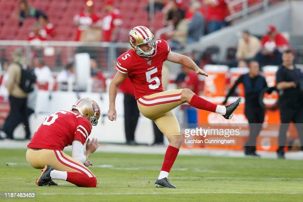 Chase McLaughlin of the San Francisco 49ers warms up before the game against the Seattle Seahawksat Levi's Stadium on November 11 2019 in Santa Clara...