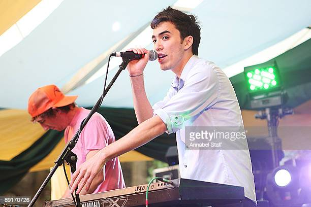 Chase Nicholl and Jan Rosenfeld of Yes Giantess perform on stage on the second day of Latitude Festival at Henham Park Estate on July 17 2009 in...