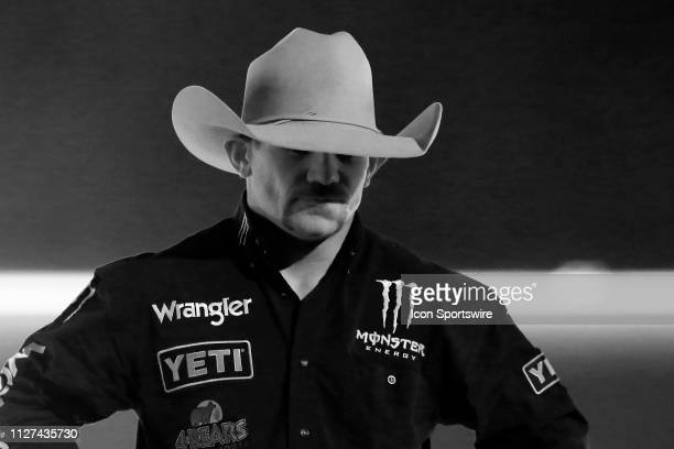 Chase Outlaw is introduced prior to the Professional Bull Riders Iron Cowboy presented by Ariat on February 23 at the Staples Center Los Angeles CA