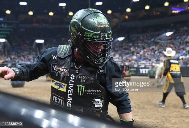 Chase Outlaw is shown after riding the bull Warlock during the Professional Bullrider's Mason Lowe Memorial on February 15 at Enterprise Center St...