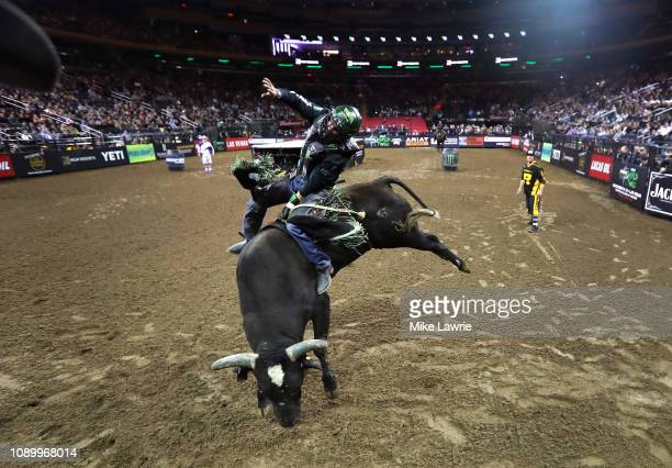 Chase Outlaw rides Prayer Warrior during the PBR Unleash The Beast bull riding event at Madison Square Garden on January 04 2019 in New York City