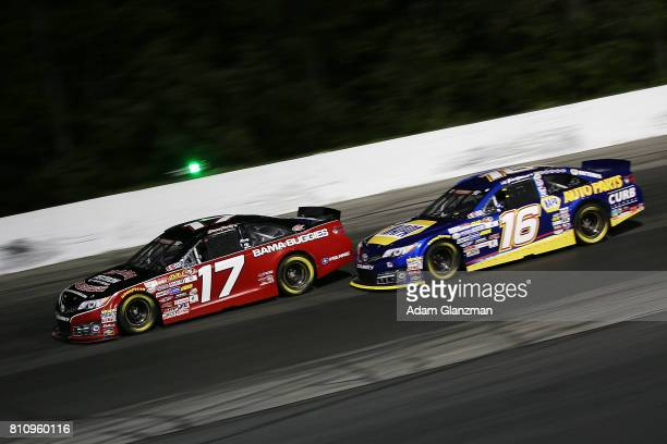 Chase Purdy driver of the Bama Buggies/Textron Off Road and Todd Gilliland driver of the NAPA Auto Parts Toyota race during the NASCAR KN Pro Series...