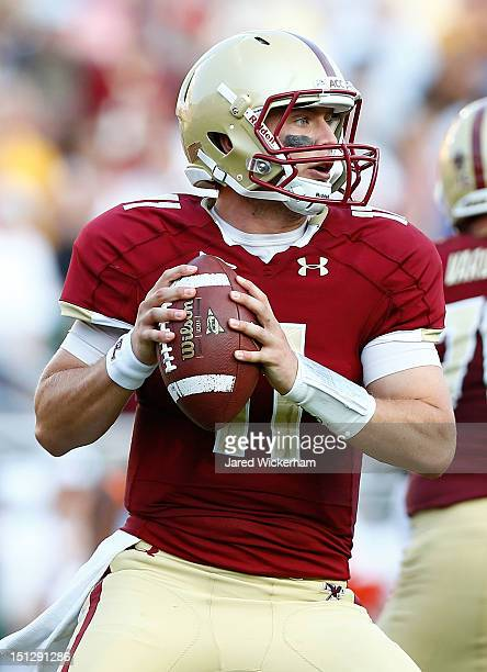 Chase Rettig of the Boston College Eagles in action against the Miami Hurricanes during the game on September 1 2012 at Alumni Stadium in Chestnut...