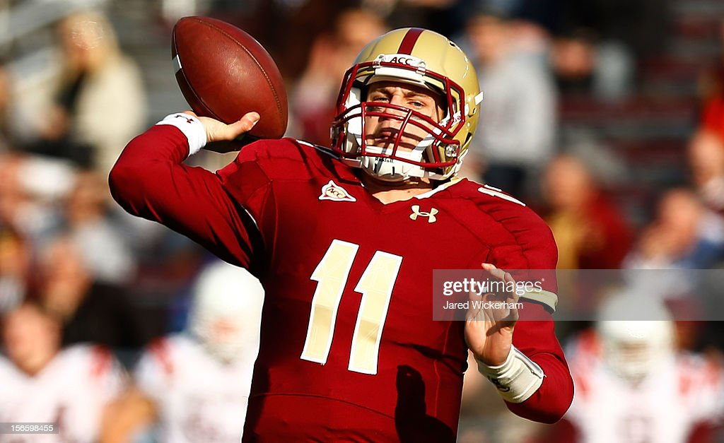Chase Rettig #11 of the Boston College Eagles throws a pass against the Virginia Tech Hokies during the game on November 17, 2012 at Alumni Stadium in Chestnut Hill, Massachusetts.