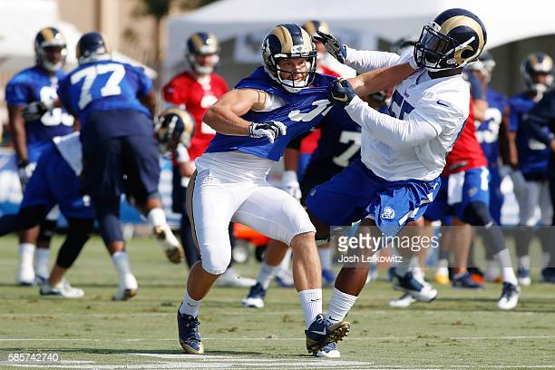 Chase Reynolds of the Los Angeles Rams tries to gain position during practice on August 3 2016 in Irvine California
