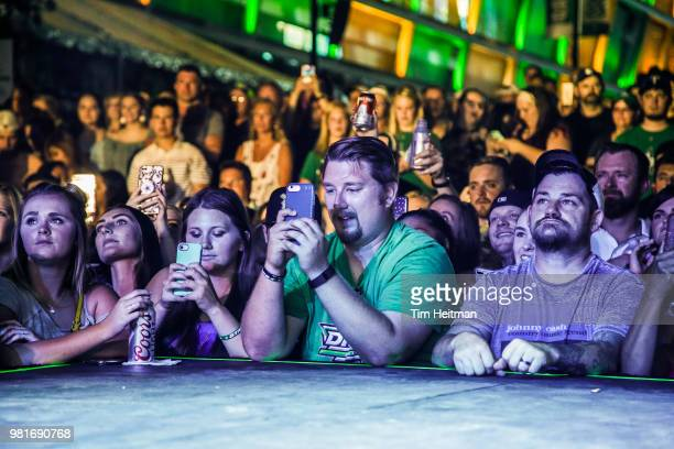 Chase Rice entertains the crowd as part of the 2018 NHL Draft Hockey Fan Fest presented by Dennys at the American Airlines Center on June 22 2018 in...