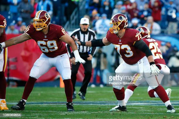 Chase Roullier and Luke Bowanko of the Washington Redskins play against the Tennessee Titans at Nissan Stadium on December 22 2018 in Nashville...