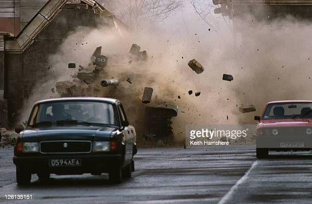 A chase scene from the James Bond film 'GoldenEye' 1995 Bond pursues General Ouromov and the captured Natalya in a Russian T55 Main Battle Tank