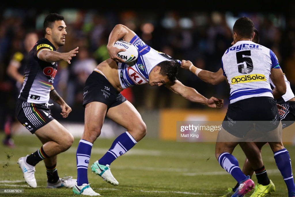 Chase Stanley of the Bulldogs is tackled during the round 21 NRL match between the Penrith Panthers and the Canterbury Bulldogs at Pepper Stadium on July 27, 2017 in Sydney, Australia.