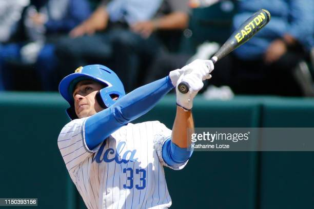 Chase Strumpf of UCLA takes a swing during a baseball game against University of Washington at Jackie Robinson Stadium on May 19 2019 in Los Angeles...