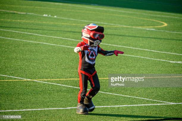 Chase The Ace entertains the fans during the SGB Premiership match between Belle Vue Aces and Sheffield Tigers at the National Speedway Stadium,...