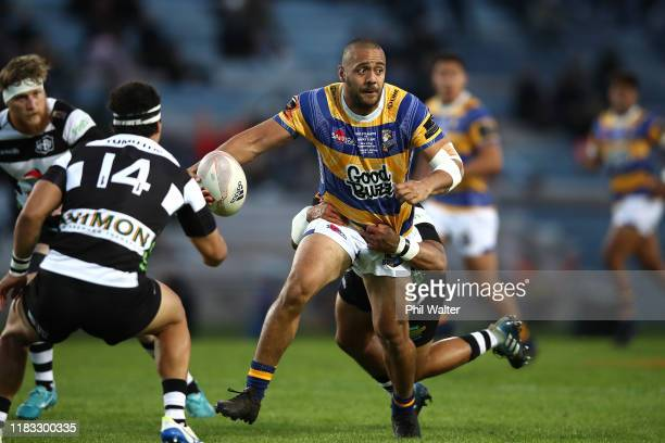 Chase Tiatia of Bay of Plenty is tackled during the Mitre 10 Cup Championship Final between Bay of Plenty and Hawke's Bay at Rotorua International...