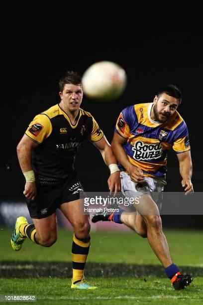 Chase Tiatia of Bay of Plenty kicks the ball through during the round one Mitre 10 Cup match between Bay of Plenty and Taranaki at Rotorua...