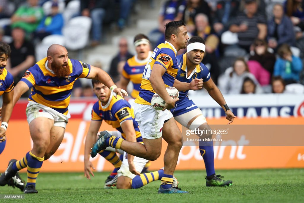 Chase Tiatia of Bay of Plenty makes a break during the round eight Mitre 10 cup match between Otago and Bay of Plenty at Forsyth Barr Stadium on October 7, 2017 in Dunedin, New Zealand.