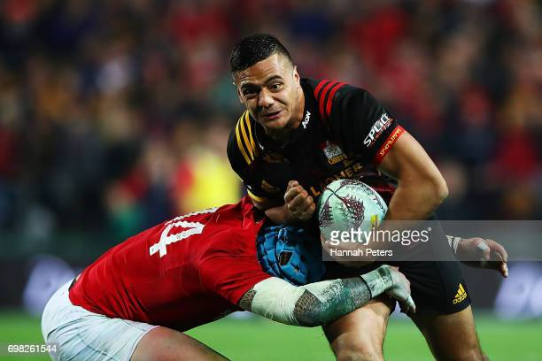 Chase Tiatia of the Chiefs charges forward during the match between the Chiefs and the British Irish Lions at Waikato Stadium on June 20 2017 in...