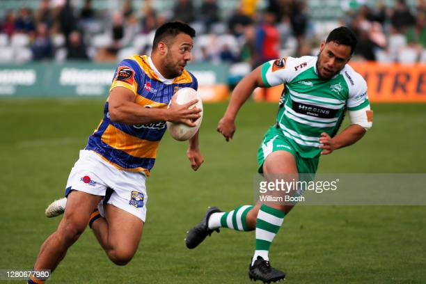 Chase Tiatia runs with the ball during the round 6 Mitre 10 Cup match between Manawatu and the Bay of Plenty at Central Energy Trust Arena on October...