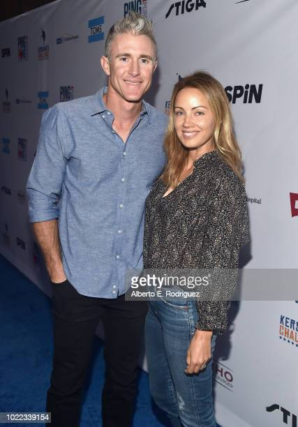 Chase Utley and Jennifer Utley arrive at Clayton Kershaw's 6th Annual Ping Pong 4 Purpose on August 23 2018 in Los Angeles California