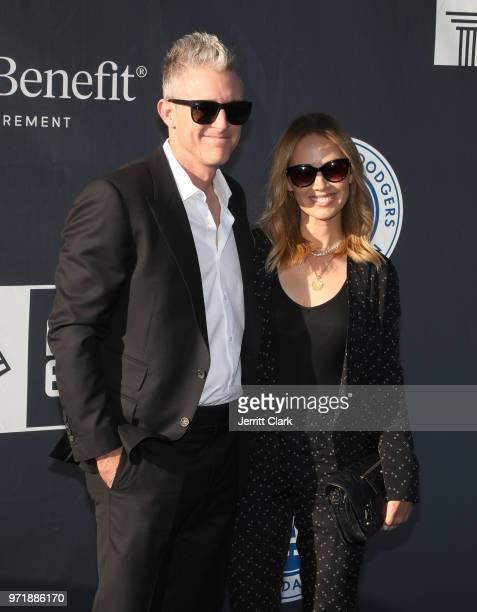 Chase Utley and Jennifer Utley attend the 4th Annual Los Angeles Dodgers Foundation Blue Diamond Gala at Dodger Stadium on June 11 2018 in Los...