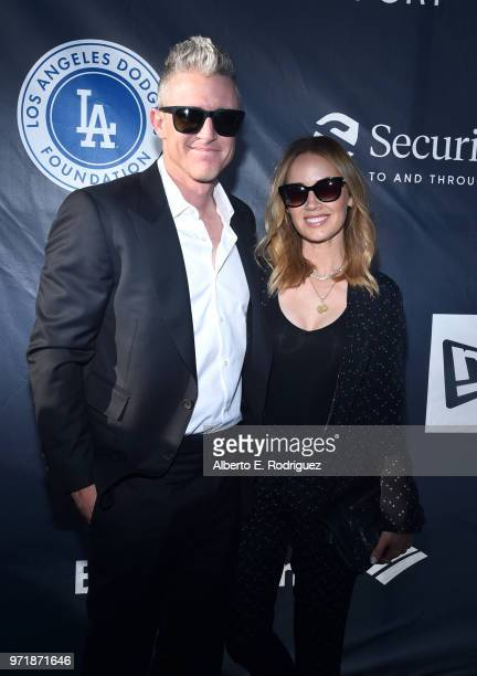 Chase Utley and Jennifer Utley attend the Fourth Annual Los Angeles Dodgers Foundation Blue Diamond Gala at Dodger Stadium on June 11 2018 in Los...