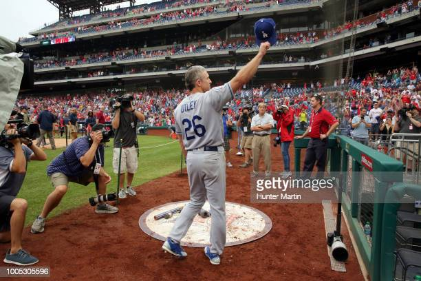 Chase Utley of the Los Angeles Dodgers acknowledges the fans for supporting him during his career as a Philadelphia Phillie after a game against the...