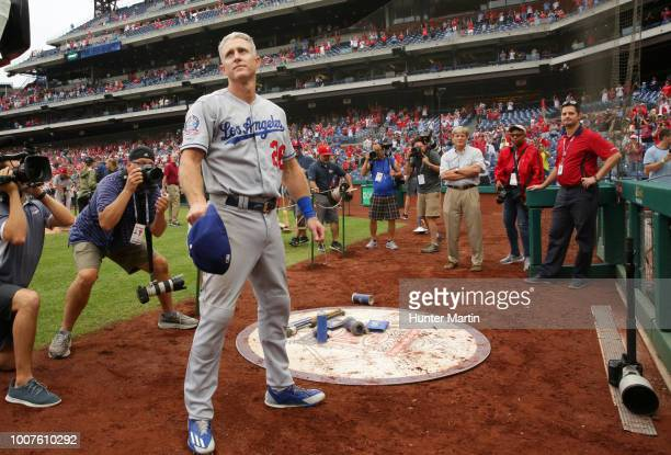 Chase Utley of the Los Angeles Dodgers acknowledges the fans for supporting him during his career in Philadelphia after a game against the...