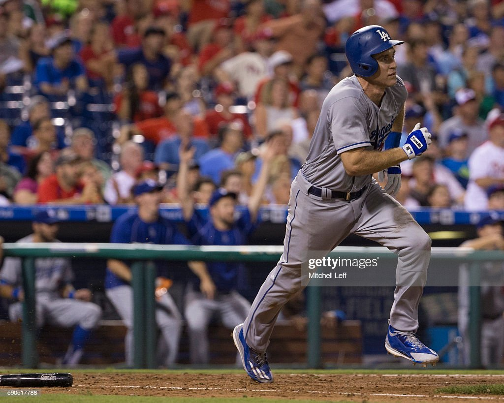 Chase Utley #26 of the Los Angeles Dodgers hits a grand slam in top of the seventh inning against the Philadelphia Phillies at Citizens Bank Park on August 16, 2016 in Philadelphia, Pennsylvania. The Dodgers defeated the Phillies 15-5.