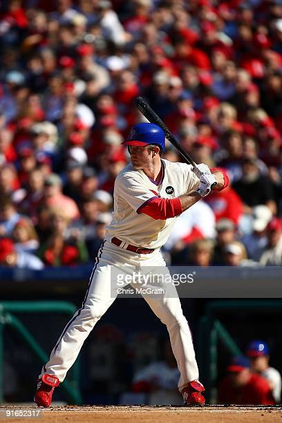 Chase Utley of the Philadelphia Phillies bats against the Colorado Rockies in Game One of the NLDS during the 2009 MLB Playoffs at Citizens Bank Park...
