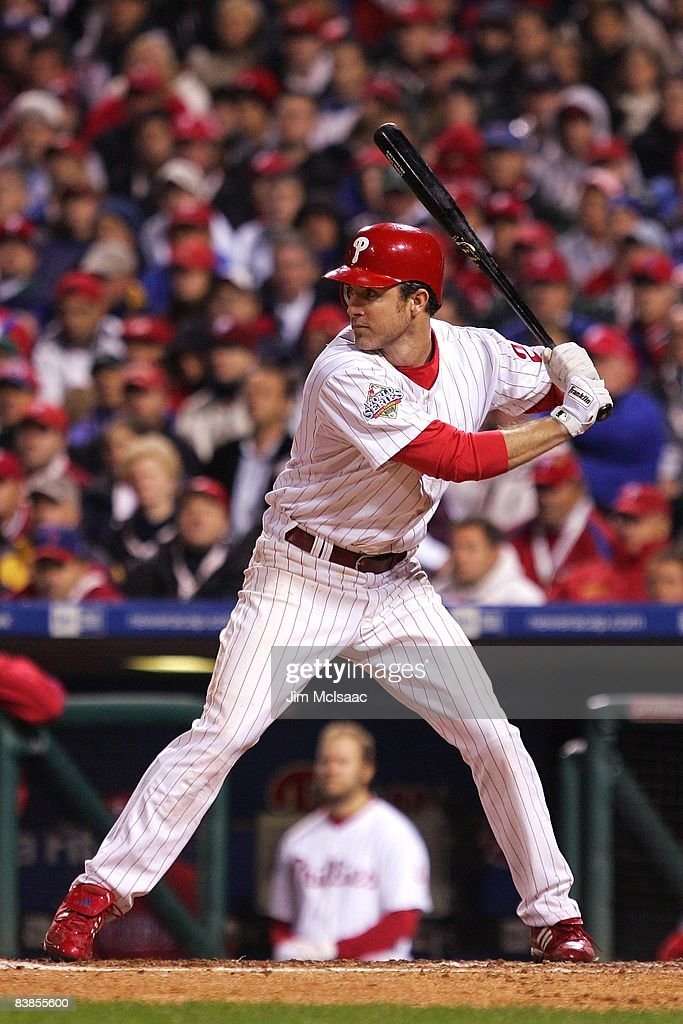 Chase Utley #26 of the Philadelphia Phillies bats against the Tampa Bay Rays during game three of the 2008 MLB World Series on October 25, 2008 at Citizens Bank Park in Philadelphia, Pennsylvania.