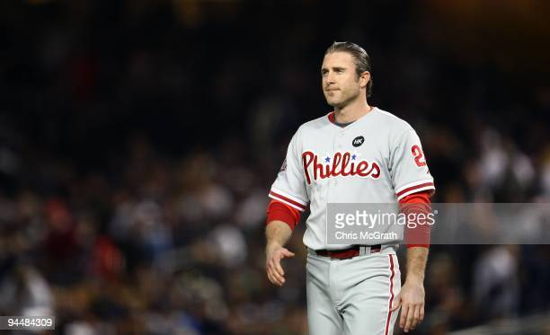 Chase Utley of the Philadelphia Phillies looks on against the New York Yankees in Game Two of the 2009 MLB World Series at Yankee Stadium on October...