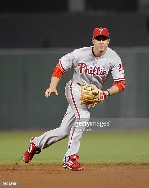 Chase Utley of the Philadelphia Phillies plays second base during against the San Francisco Giants at ATT Park on April 27 2010 in San Francisco...