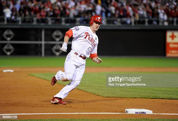 Chase Utley of the Philadelphia Phillies rounds third base against the New York Yankees in Game Five of the 2009 MLB World Series at Citizens Bank...