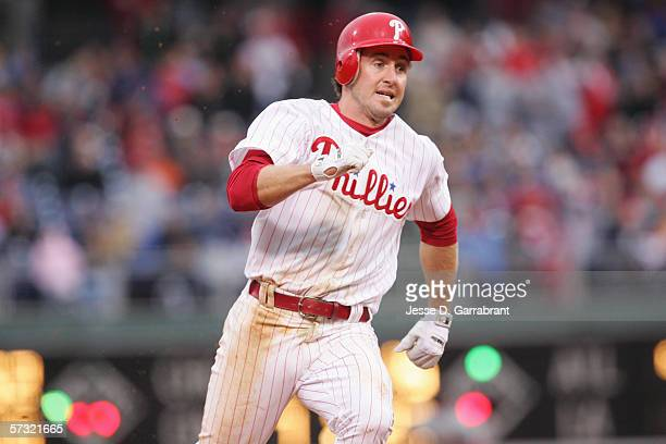 Chase Utley of the Philadelphia Phillies runs the bases against the St Louis Cardinals during the Opening Day game on April 3 2006 at Citizens Bank...