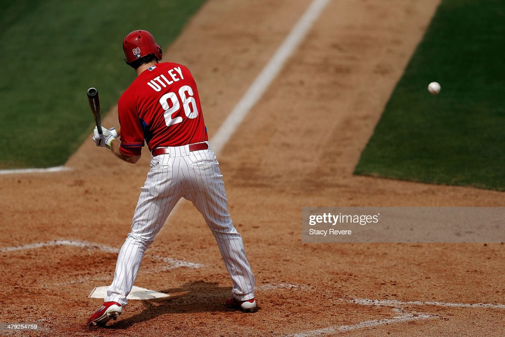 Chase Utley #26 of the Philadelphia Phillies waits for a pitch in the fourth inning of a game against the Pittsburgh Pirates at Bright House Field on March 16, 2014 in Clearwater, Florida. Pittsburgh won the game 5-0.
