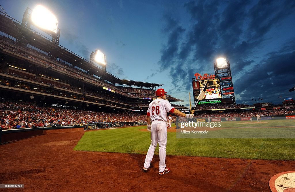 Chase Utley #26 of the Philadelphia Phillies waits on deck against the Boston Red Sox in the fourth inning on May 22, 2010 at Citizens Bank Park in Philadelphia, Pennsylvania. The Red Sox won 5-0.