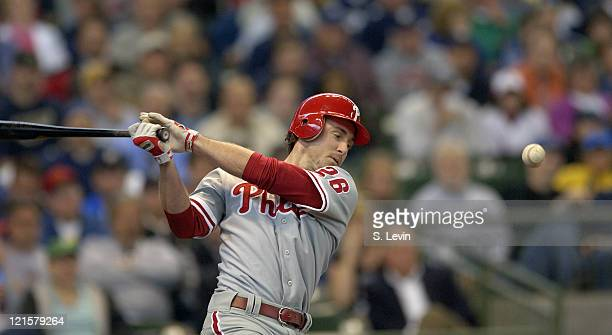 Chase Utley swings early during the game between the Milwaukee Brewers and the Philadelphia Phillies at Miller Park in Milwaukee WI on May 18 2006